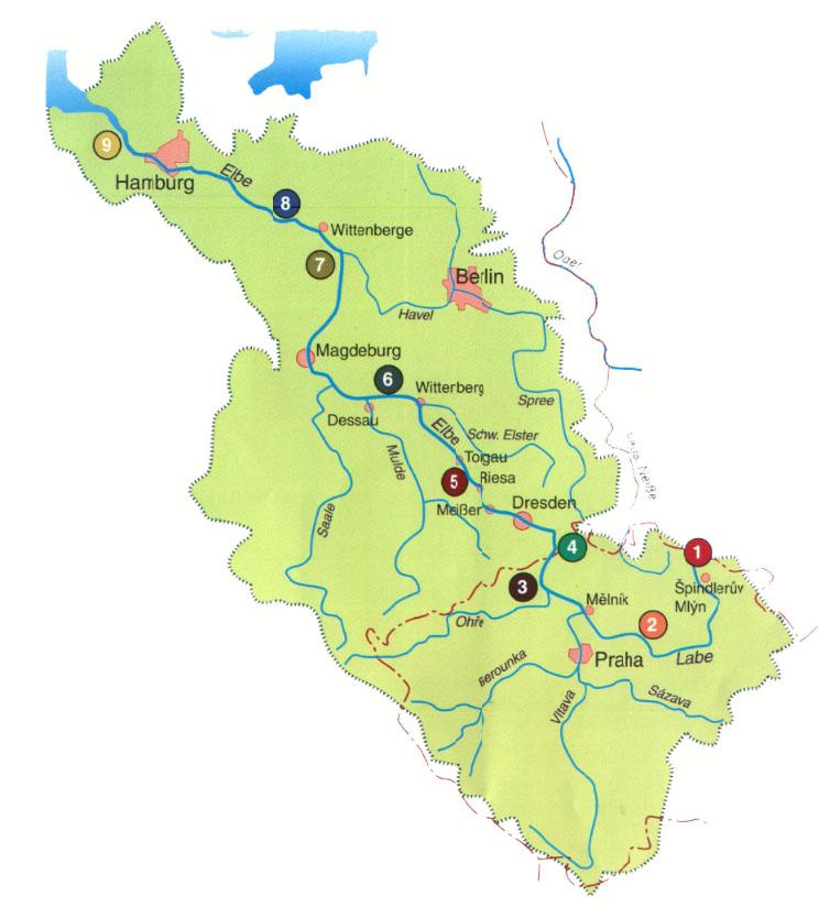 Karte Fluss Elbe